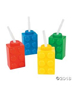 Color Brick Party Cups with Straws