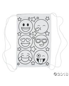 Color Your Own Emoji Drawstring Backpacks