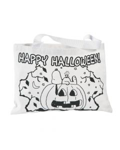 Color Your Own Peanuts Halloween Tote Bags