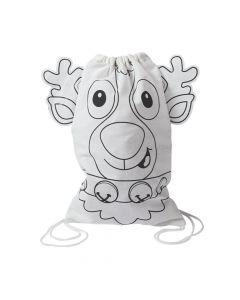 Color Your Own Reindeer Medium Drawstring Bags