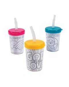 Color Your Own Religious Cups with Lids and Straws