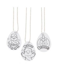 Color Your Own Religious Easter Dog Tag Necklaces