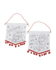 Color Your Own Rudolph the Red-Nosed Reindeer Pom-Pom Banners