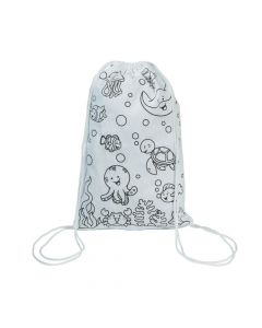 Color Your Own Small Under the Sea Canvas Drawstring Bags