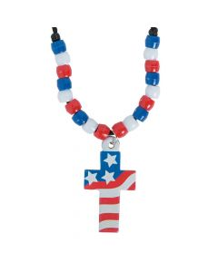 Cross with American Flag Necklace Craft Kit