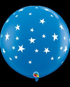 Dark Blue Stars Round Latex Balloon