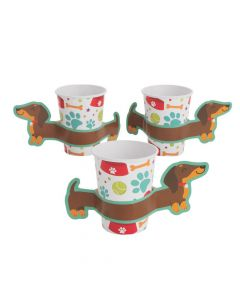 Dog Party Paper Cups with Sleeves