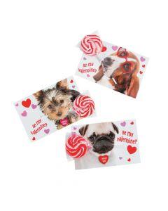 Dog Valentine Exchange Cards with Lollipops