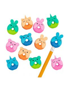 Donut Animal Eraser Pencil Toppers - 24 Pc.