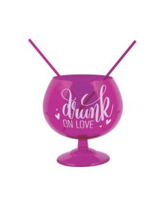 Drunk on Love Plastic Fishbowl Glass with Straws