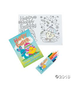 Easter Colouring Book with Coloured Pencils