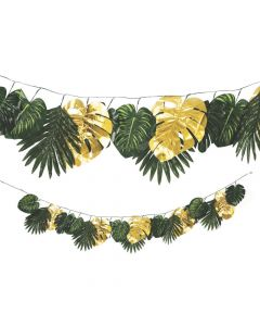 Faux Palm with Gold Accents Garland
