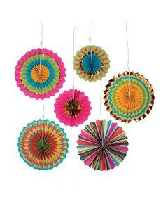 Fiesta Hanging Paper Fan Decorations
