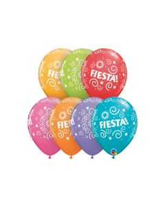 "Fiesta Swirls 11"" Latex Balloon Assortment"