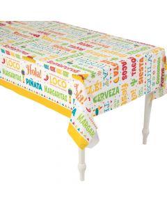 Fiesta Words Plastic Tablecloth