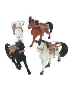 Flocked Horses with Saddle