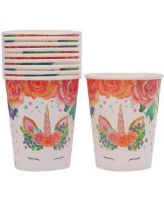 Flower Unicorn Paper Cups
