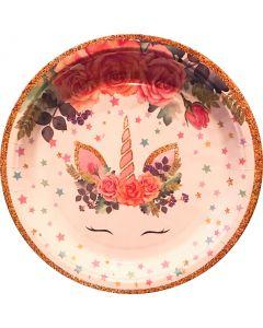 Flower Unicorn Paper Plate