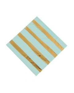 Fresh Mint and Gold Foil Striped Luncheon Napkins