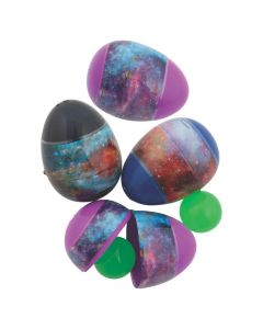 Galaxy Glow-in-the-Dark Bouncy Ball-Filled Easter Eggs - 12 Pc.