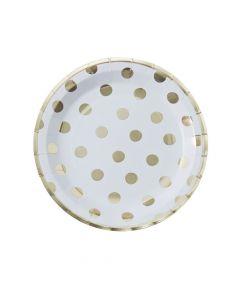 Ginger Ray Gold Foil Polka Dot Paper Dinner Plates