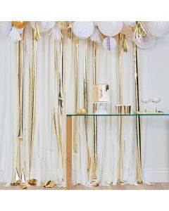 Ginger Ray White, Cream and Gold Fringe Crepe Paper Streamer Backdrop