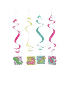 Girl Dinosaur Party Swirl Decorations