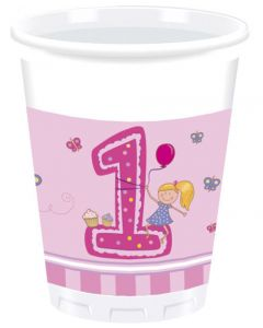 Girl First Birthday Plastic Cup