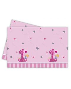 Girl First Birthday Plastic Tablecover