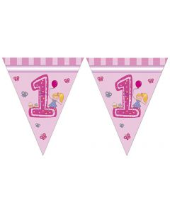 Girl First Birthday Triangle Flag Banner