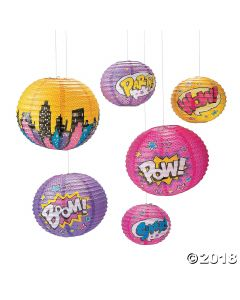 Girl Superhero Hanging Paper Lanterns