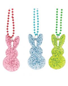 Glitter Bunny Beaded Necklaces