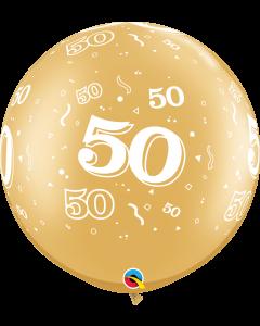 Gold  91cm Plain Round Latex Balloon