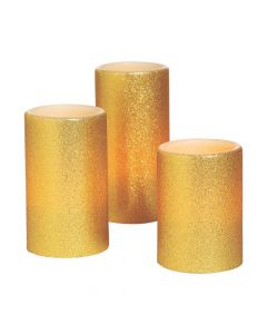 Gold Battery-Operated Candle Set
