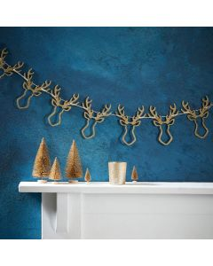 Gold Christmas Glitter Stag Head Bunting