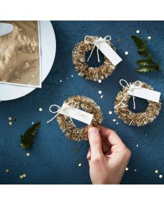 Gold Christmas Wreath Place Card
