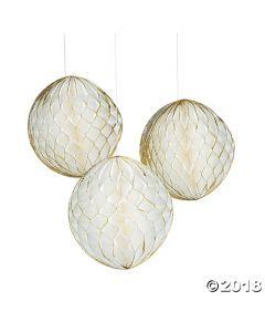 Gold Glitter & White Tissue Balls