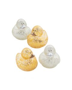 Gold and Silver Glitter Sparkle Rubber Duckies