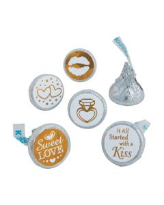 Gold and White Stickers for Hershey's Kisses