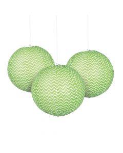 Green Chevron Hanging Paper Lanterns