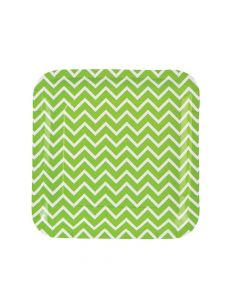 Green Chevron Paper Dinner Plates