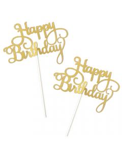 Happy Birthday Cake Topper Gold Glitter