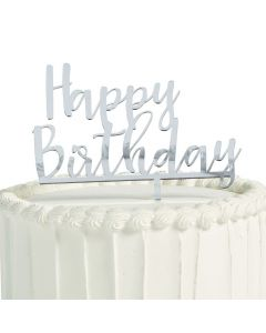 Happy Birthday Mirror Cake Topper