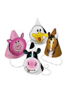 Farm Party Die Cut Cone Hats