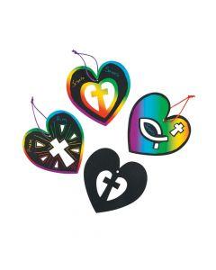 Heart and Cross Magic Color Scratch Ornaments