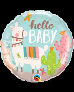 Hello Baby Llama Foil Balloon