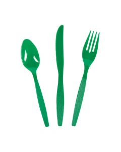 High Count Green Plastic Cutlery Set
