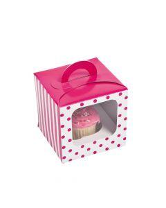 Hot Pink Polka Dot Cupcake Boxes with Handle