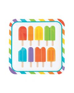 Ice Pop Party Square Paper Dinner Plates