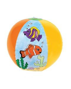 """Inflatable 12"""" Color Your Own Fish Large Beach Balls"""